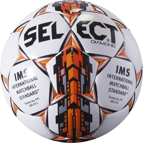 Select Diamond White/Orange Soccer Ball - model 0295000300