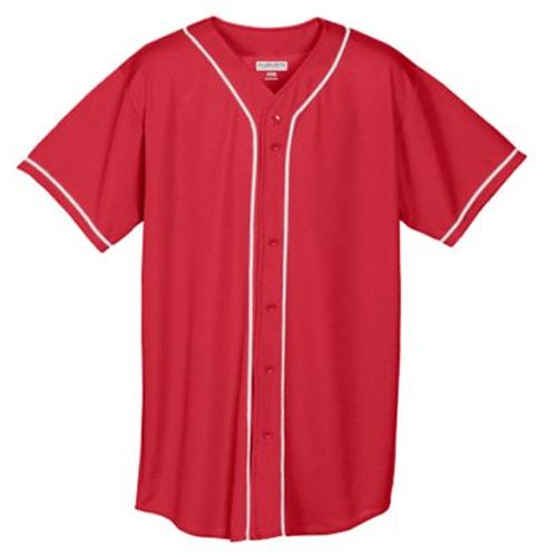 Wicking Mesh Button Front with Braid Trim Baseball Jersey - model 593