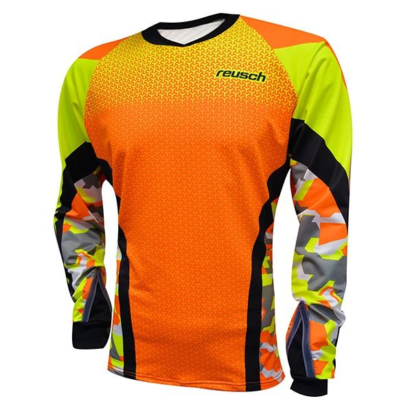 26575130b Reusch Camo Woman s Pro-Fit Shocking Orange Safety Yellow Soccer Goalkeeper  Jersey - model